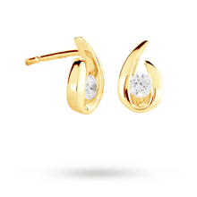 9ct Yellow Gold 0.15ct 88 Facet Diamond Swoop Stud Earrings