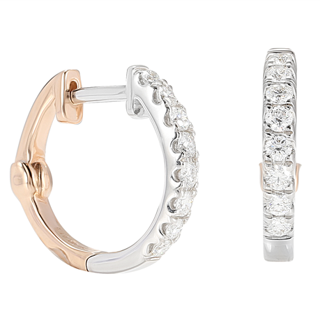 Lotus 18ct White and Rose Gold 0.35cttw Hoop Earrings