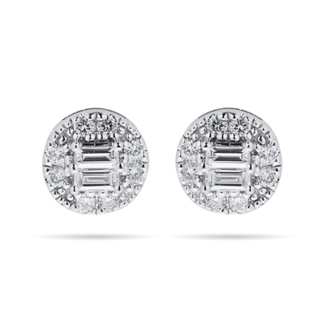 9ct White Gold Round & Baguette 0.25cttw Stud Earrings