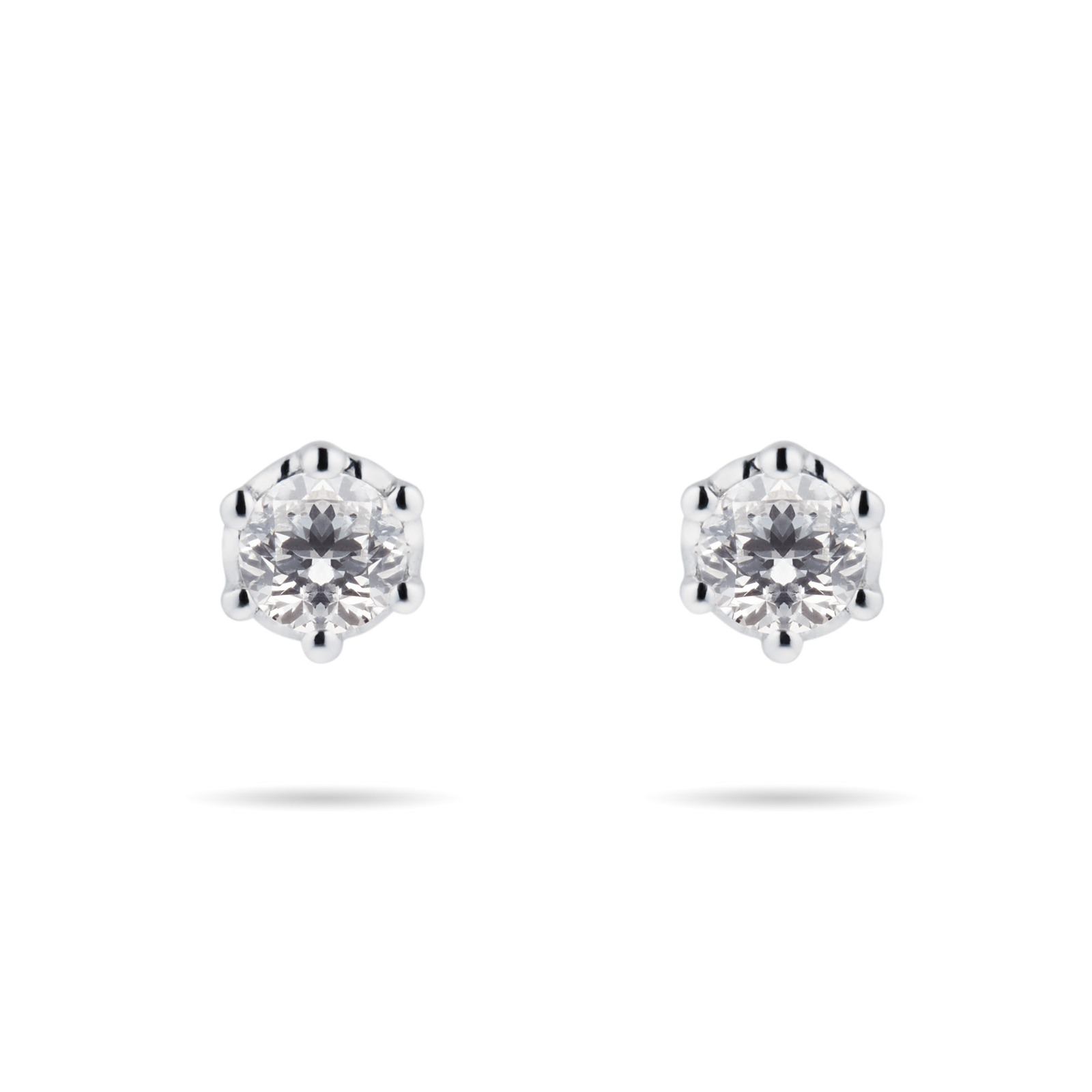 9ct White Gold 0.10cttw Bezel Set Illusion Stud Earrings