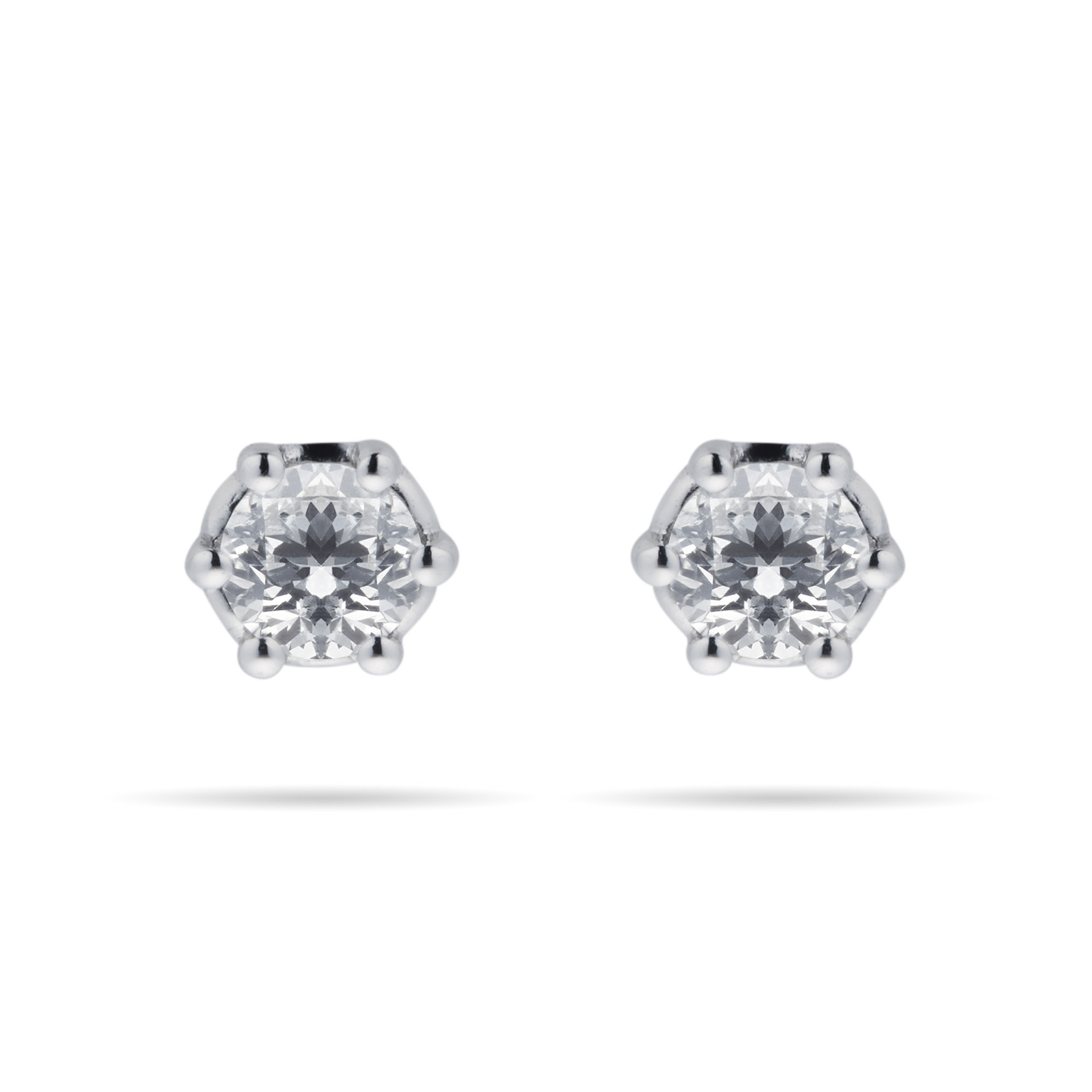 9ct White Gold 0.20cttw Bezel Set Illusion Stud Earrings