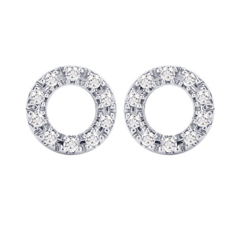 9ct White Gold Diamond Circle Stud Earrings