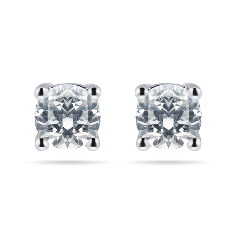 18ct White Gold 0.65cttw Solitaire Goldsmiths Brightest Diamond Stud Earrings