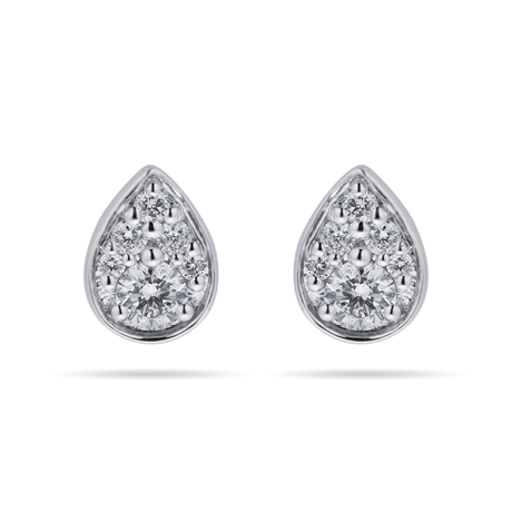 9ct White Gold 0.25cttw Round Pear Shape Stud Earrings