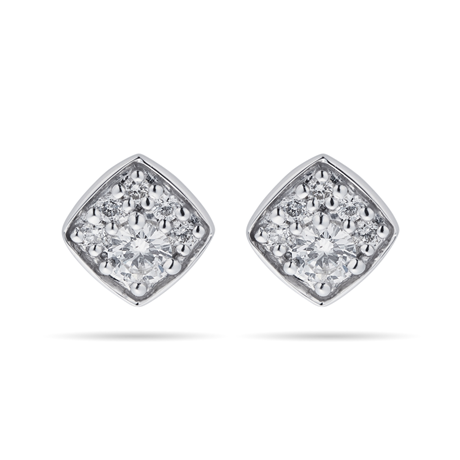 9ct White Gold 0.25cttw Round Square Shape Stud Earrings