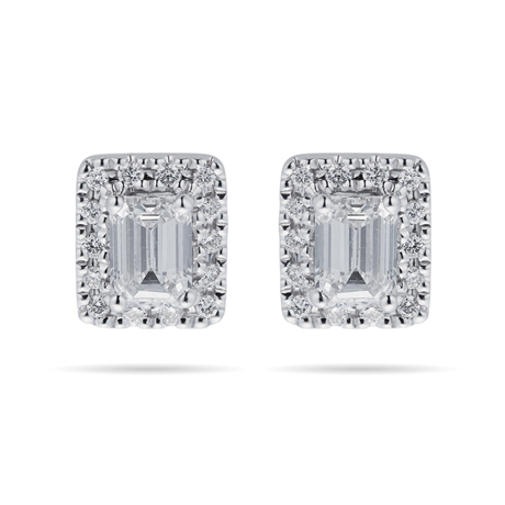 18ct White Gold 0.70cttw Emerald Cut Halo Stud Earrings