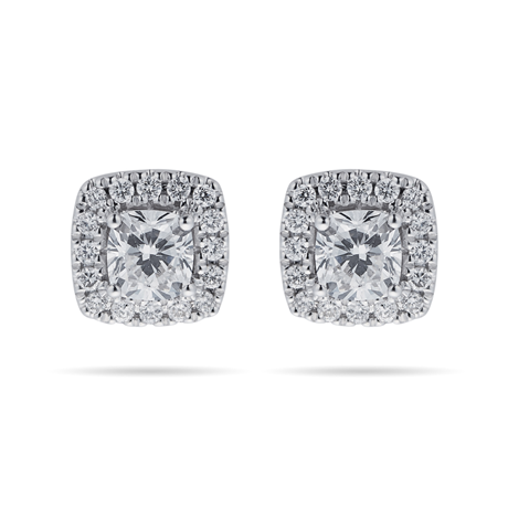 18ct White Gold 0.70cttw Cushion Cut Halo Stud Earrings