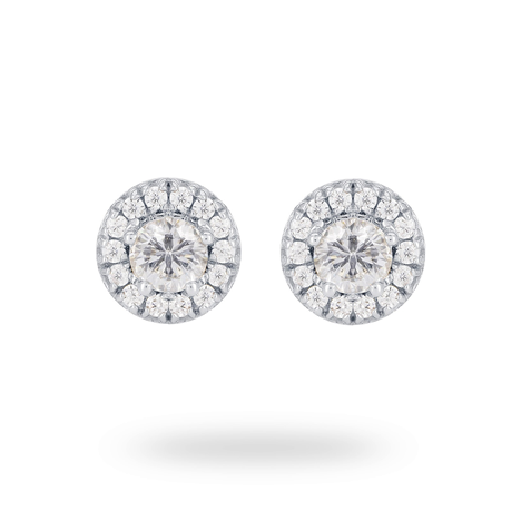 9 Carat White Gold 0.50 Carat Total Weight Halo Earrings