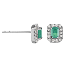 9ct White Gold Emerald Emerald Cut Halo Stud Earrings