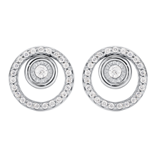 For Her - 9ct White Gold 0.15ct Diamond Circle Earrings - 12152865