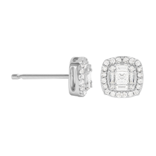 9ct White Gold 0.27ct Diamond Cushion Cluster Earrings