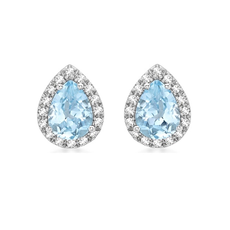 9ct White Gold Blue Topaz & Diamond Pear Halo Stud Earrings