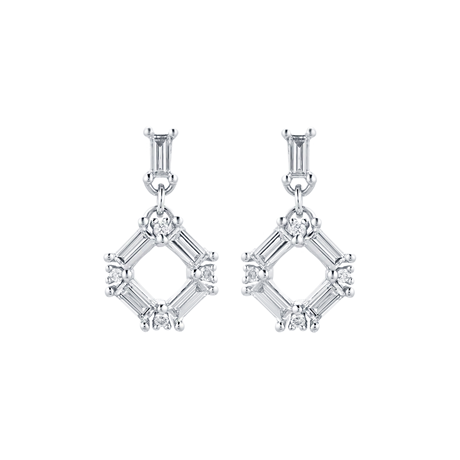 Renee 18ct White Gold 0.43cttw Diamond Open Square Drop Earrings