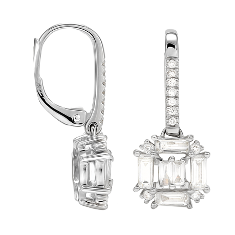Renee 18ct White Gold 0.81cttw Diamond Cluster Drop Earrings