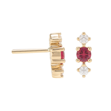 For Her - Carrington 18ct Yellow Gold Ruby & Diamond Stud Earrings - 12152895