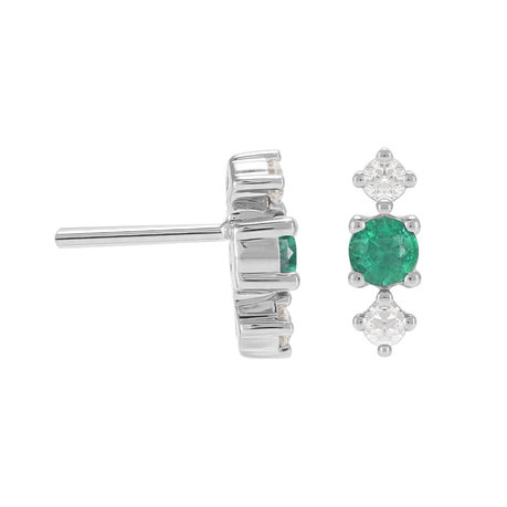 Carrington 18ct White Gold Emerald & Diamond Stud Earrings