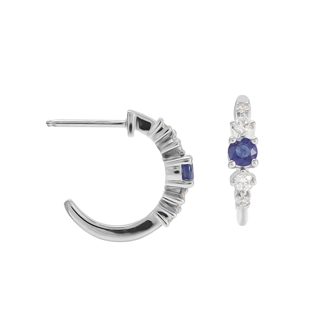 Carrington 18 White Gold Sapphire & Diamond Hoop Earrings