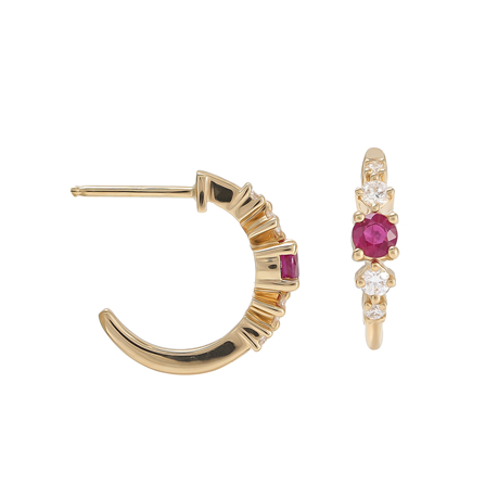 Mappin & Webb Carrington 18 Yellow Gold Ruby & Diamond Hoop Earrings