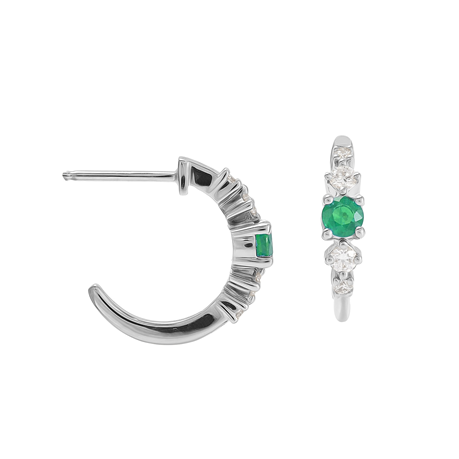 Carrington 18 White Gold Emerald & Diamond Hoop Earrings