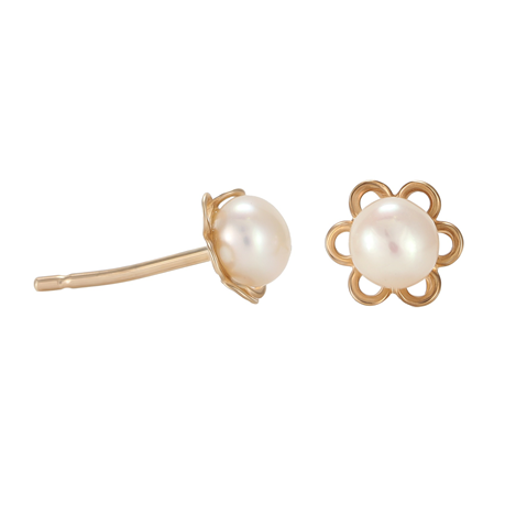 9ct Yellow Gold Cultured Fresh Water Pearl Flower Stud Earrings