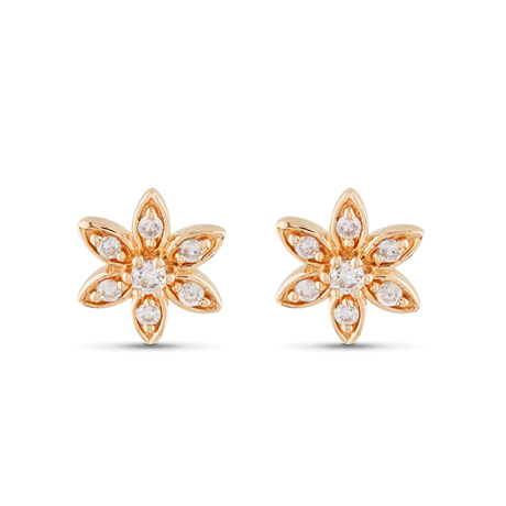 9ct Yellow Gold 0.12cttw Flower Stud Earrings