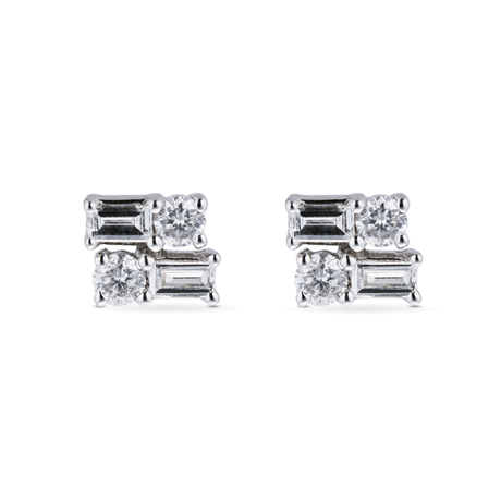 9ct White Gold 0.25cttw Round & Baguette Cut Cluster Stud Earrings