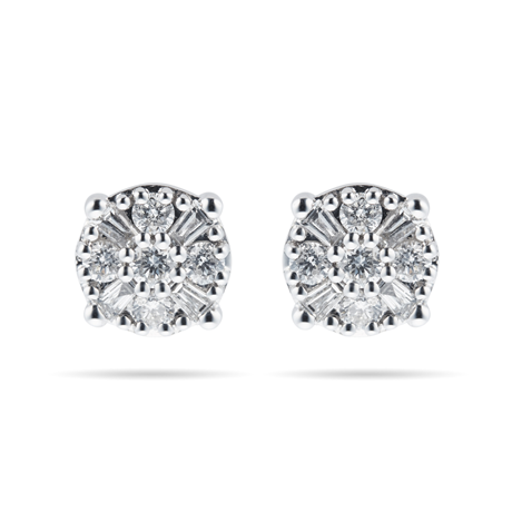 9ct White Gold 0.40ct Mixed Stone Cluster Stud Earrings