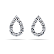 9ct White Gold 0.15cttw Diamond Pear Stud Earrings