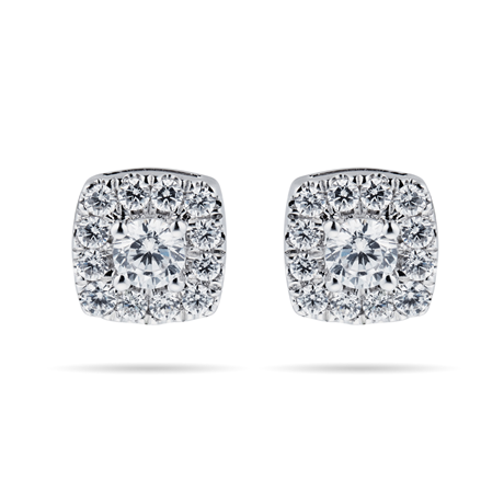 9ct White Gold 0.50cttw Diamond Multi Stone Stud Earrings