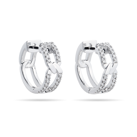 Harmony 18ct White Gold 0.25cttw Diamond Huggy Hoop Earrings