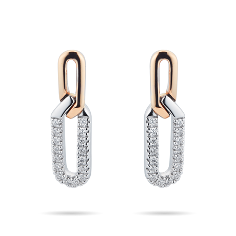 Harmony 18ct Rose and White Gold 0.15cttw Diamond Drop Earrings