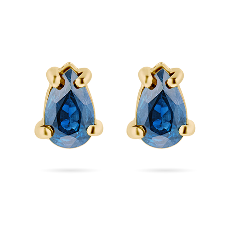 9ct Yellow Gold Sapphire Pear Stud Earrings