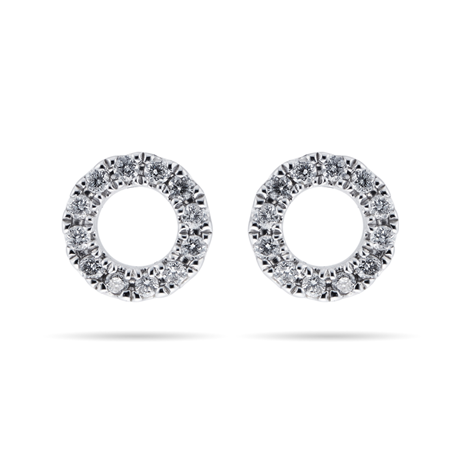9ct White Gold 0.10cttw Diamond Open Circle Stud Earrings