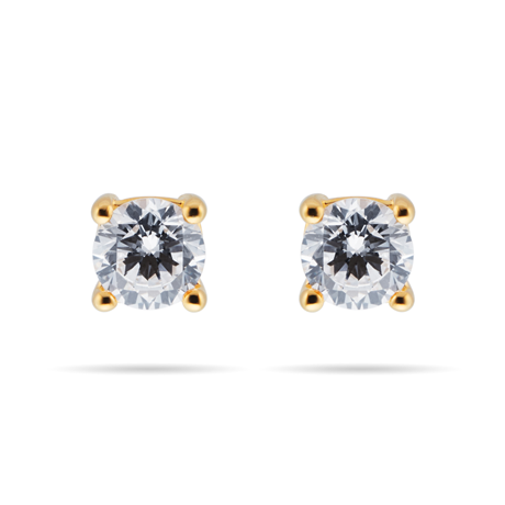 9ct Yellow Gold 0.40ct Goldsmiths Brightest Diamond 4 Claw Stud Earrings