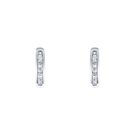 18ct White Gold 0.18cttw Diamond Hoop Earrings