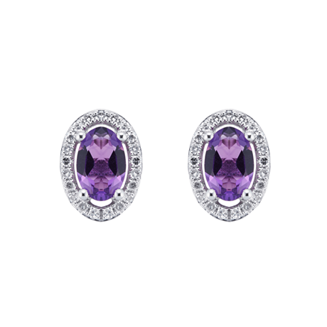 9ct White Gold Amethyst & Diamond 0.13ct Oval Studs Earrings
