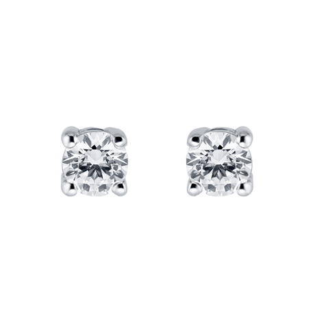 9ct White Gold 0.15cttw Brilliant Cut Stud Earrings