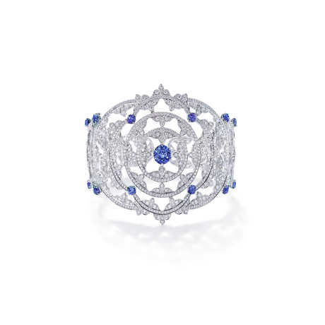 Empress Blue Sapphire Cuff in 18ct White Gold