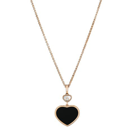 Chopard Happy Hearts 18ct Rose Gold Black Onyx Diamond Pendant