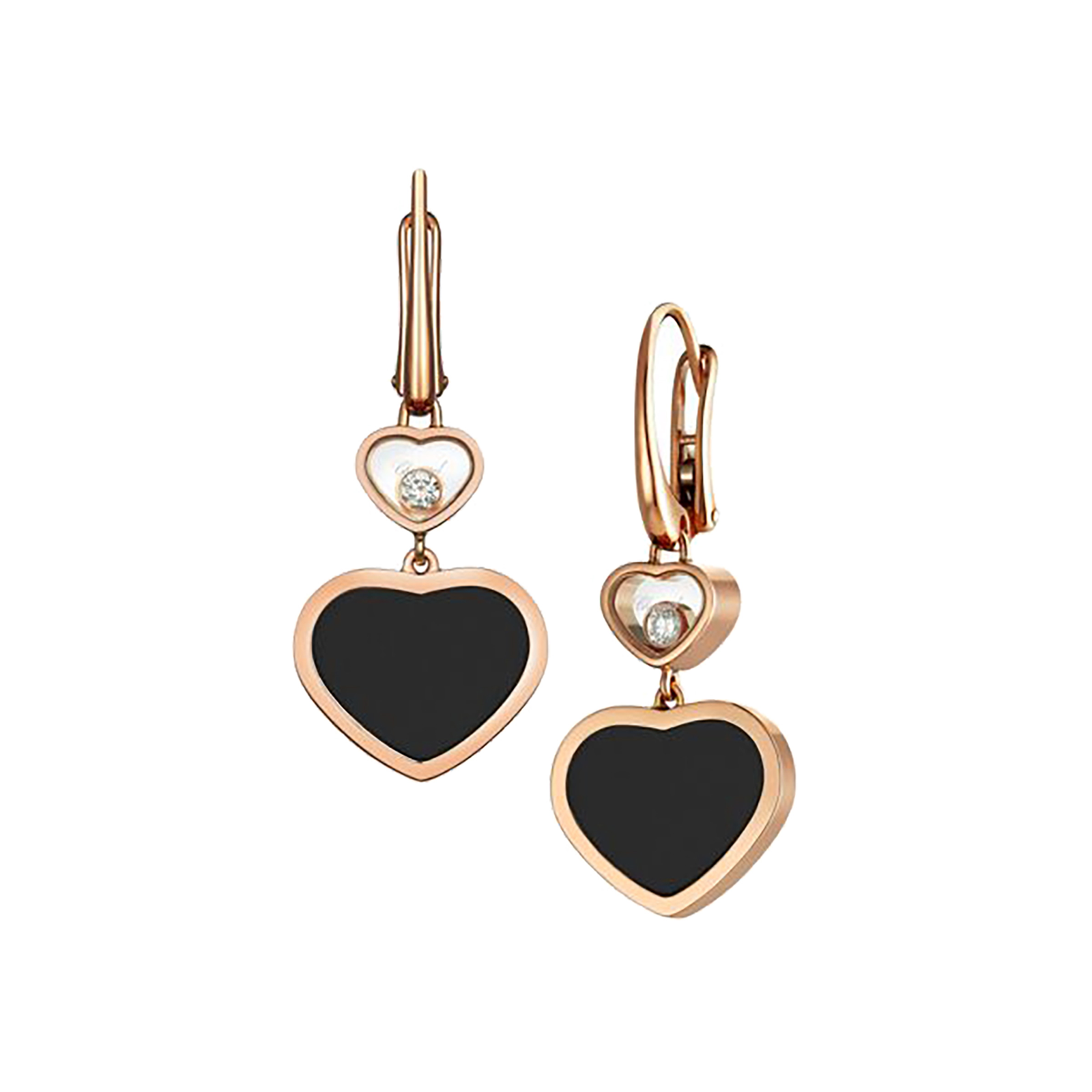 Chopard Happy Hearts 18ct Rose Gold Natural Black Onyx Diamond Earrings