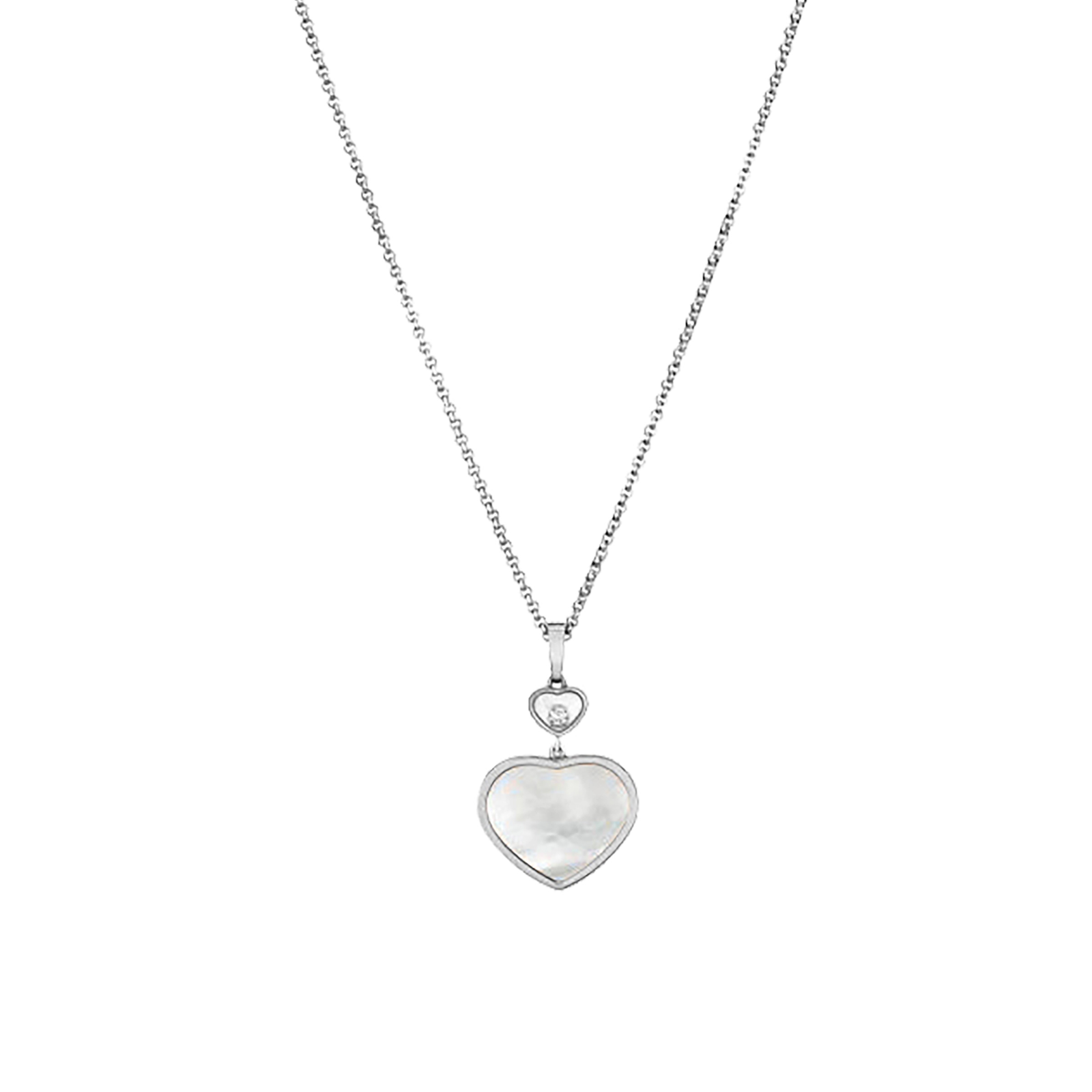 Chopard Happy Hearts 18ct White Gold Mother of Pearl Diamond Pendant