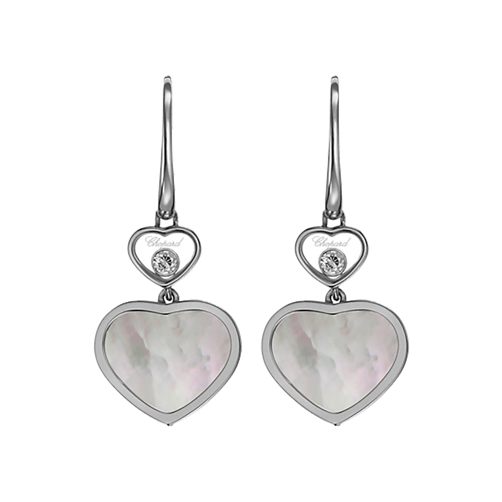 Chopard Happy Hearts 18ct White Gold Mother of Pearl Diamond Earrings