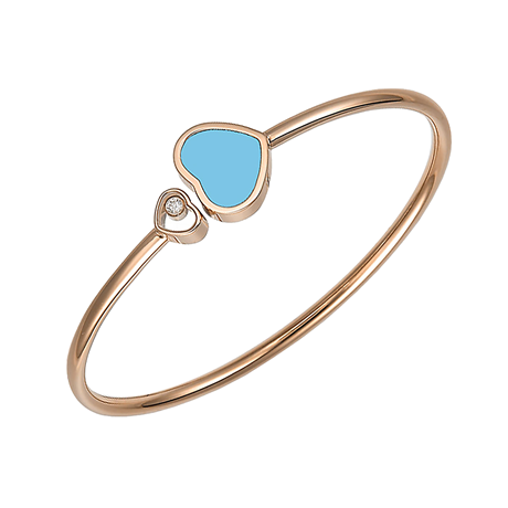 Chopard Happy Hearts 18ct Rose Gold Turquoise Diamond Bangle