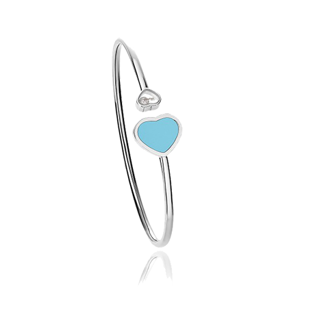 Chopard Happy Hearts 18ct White Gold Turquoise Diamond Bangle