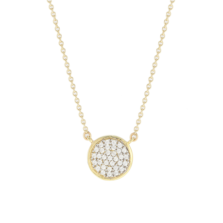 9ct Yellow Gold Cubic Zirconia Pave Circle Necklace