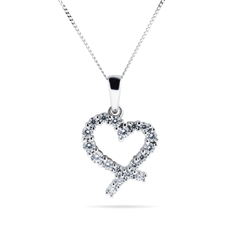 9ct White Gold Cubic Zirconia Open Heart Pendant