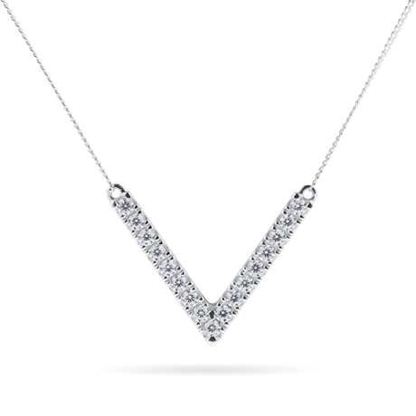 9ct White Gold Cubic Zirconia V Pendant