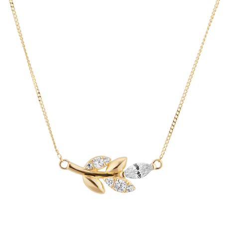 9ct Yellow Gold Marquise Cut Cubic Zirconia Necklace