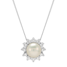 For Her - 9ct White Gold Pearl Diamond Flower Halo Pendant - GS0004GW