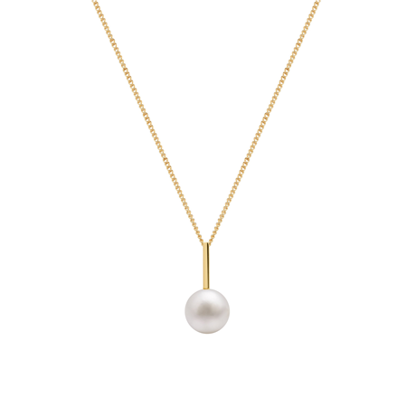 9ct Yellow Gold Pearl Drop Bar Pendant
